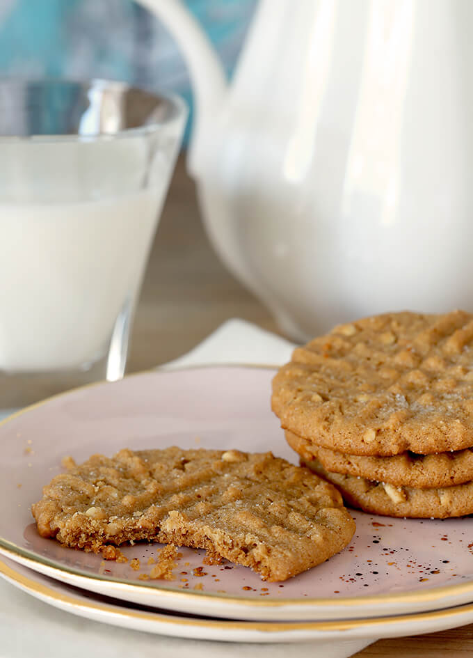 Flourless (Gluten Free) Peanut Butter Cookies On Pink Plate Served with Milk