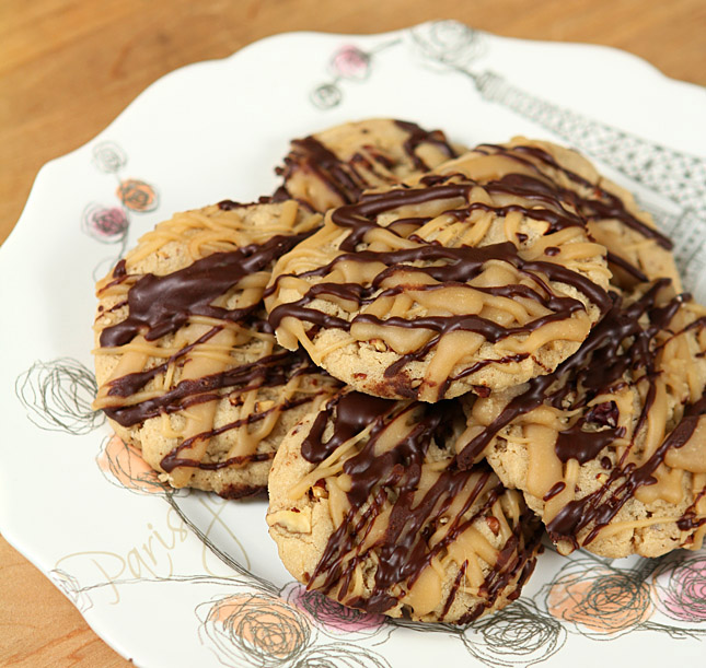 Pecan and Penuche Cookies with Chocolate Drizzle