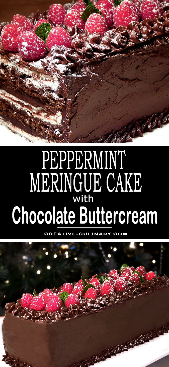 Peppermint Meringue Cake with Chocolate Buttercream