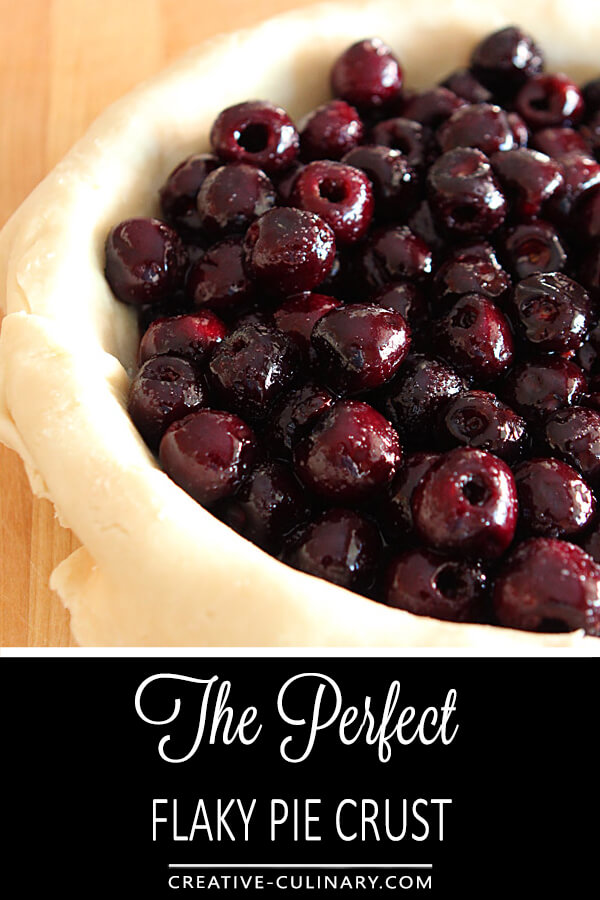 The Perfect Pie Crust in a Pie Plate with Cherries