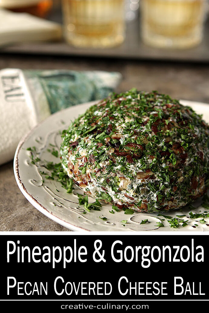 Pineapple and Gorgonzola Cheese Ball Covered with Pecans and Parsley