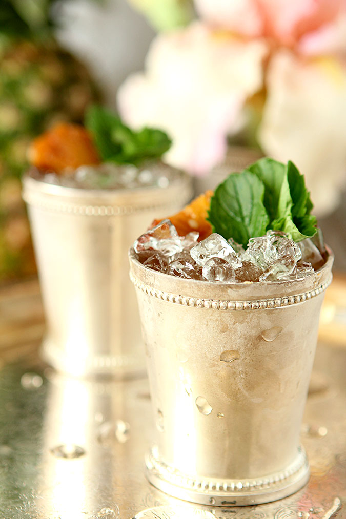 Roasted Pineapple and Rum Mint Juleps in Julep Cups
