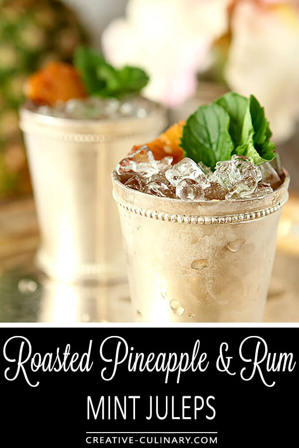 Roasted Pineapple Mint Julep in a Julep Cup