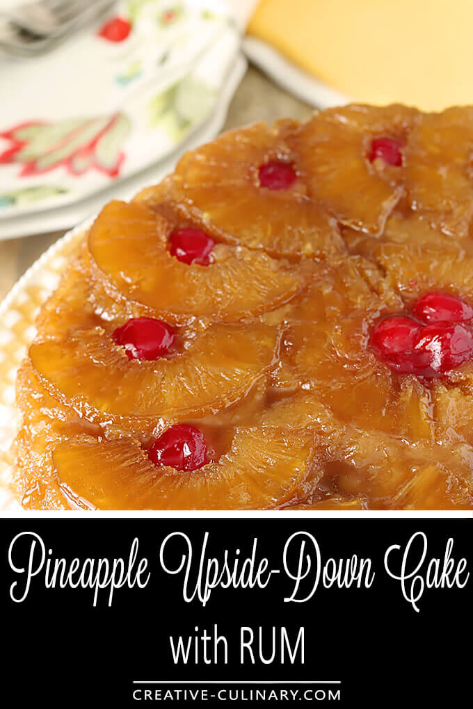 The Best Pineapple Upside Down Cake with Rum PIN Image