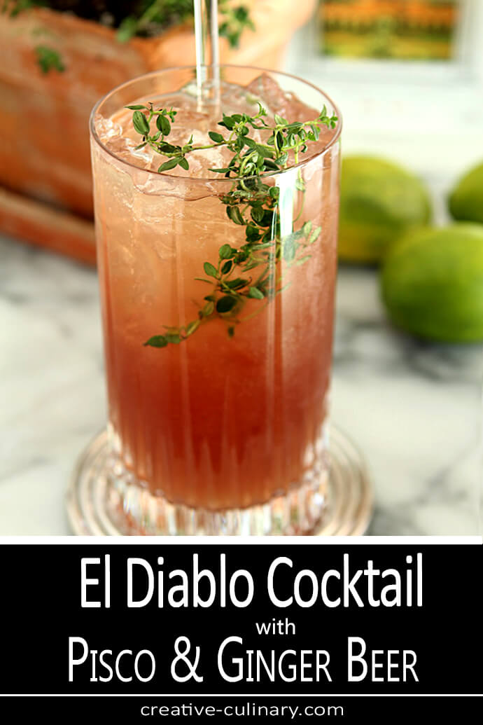 El Diablo Cocktail with Pisco and Ginger Beer in a Tall Glass with Thyme Garnish