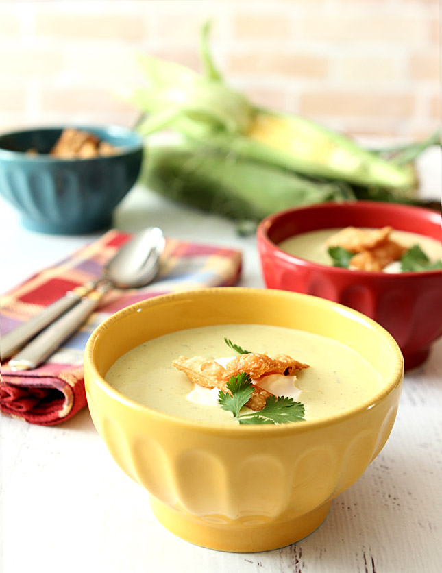 Roasted Poblano Pepper and Corn Soup