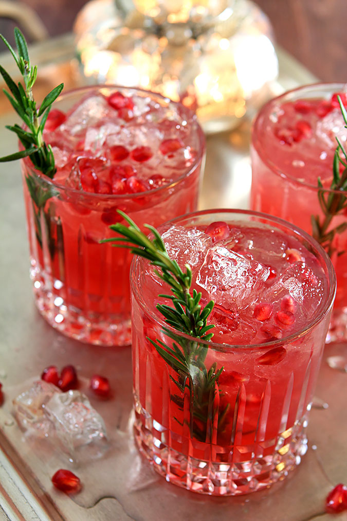 Pomegranate and Rosemary Gin Fizz