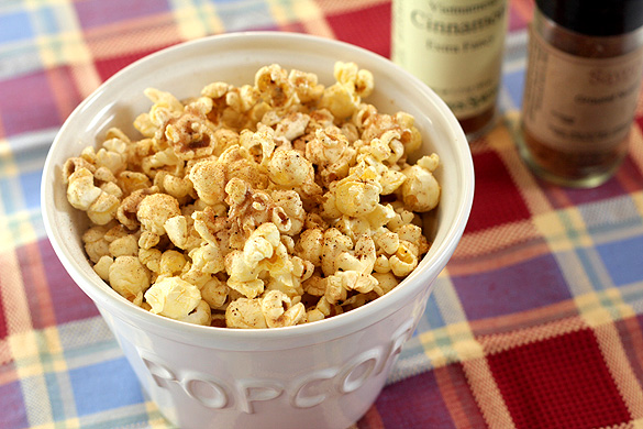 Sugar and Spice Popcorn - Cinnamon, Sugar and Nutmeg add an extra dimension to buttered popcorn