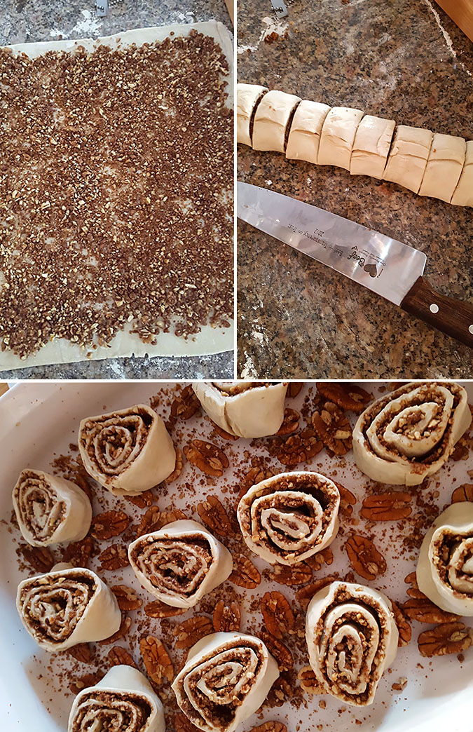 Puff Pastry Pecan Sticky Buns with Maple Bourbon Glaze
