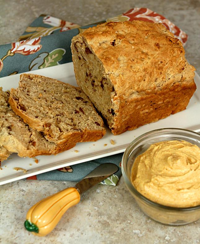 Pumpkin Beer Bread with Pumpkin and Honey Butter