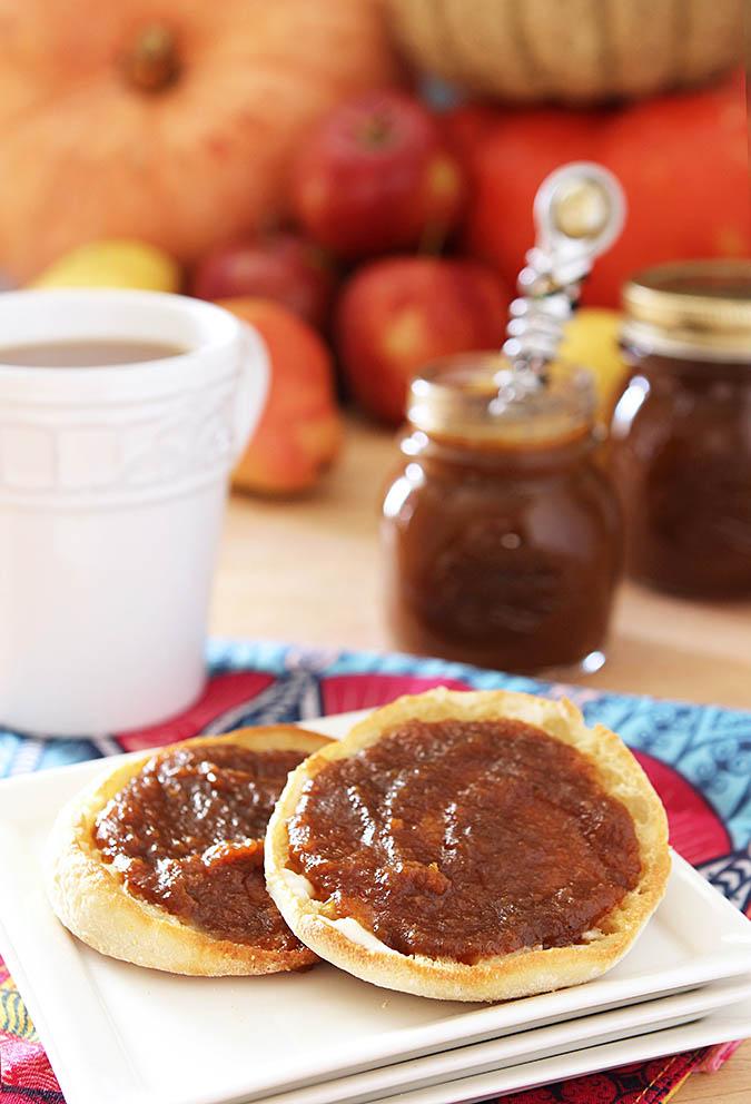 Homemade Pumpkin Butter Served on English Muffins