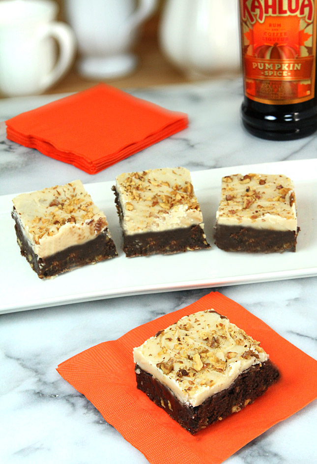 Kahlua Pumpkin Spice Brownies with Brown Butter and Kahlua Frosting  |  Creative-Culinary.com