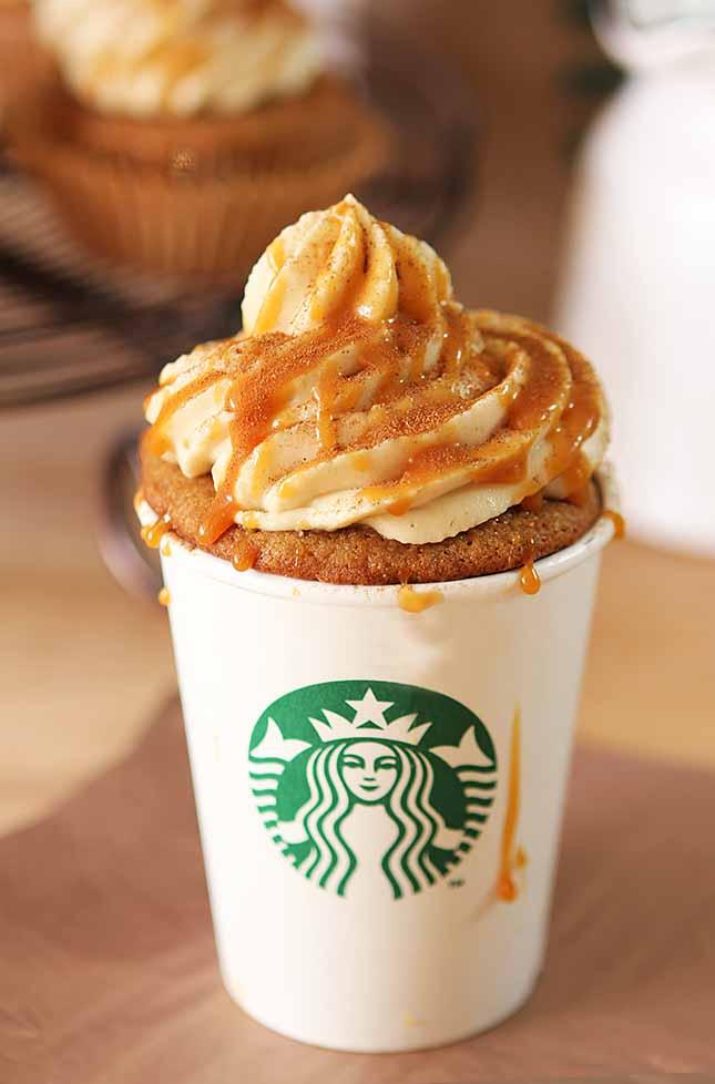 'Pumpkin Spice' Latte Cupcakes with Caramel Sauce ...