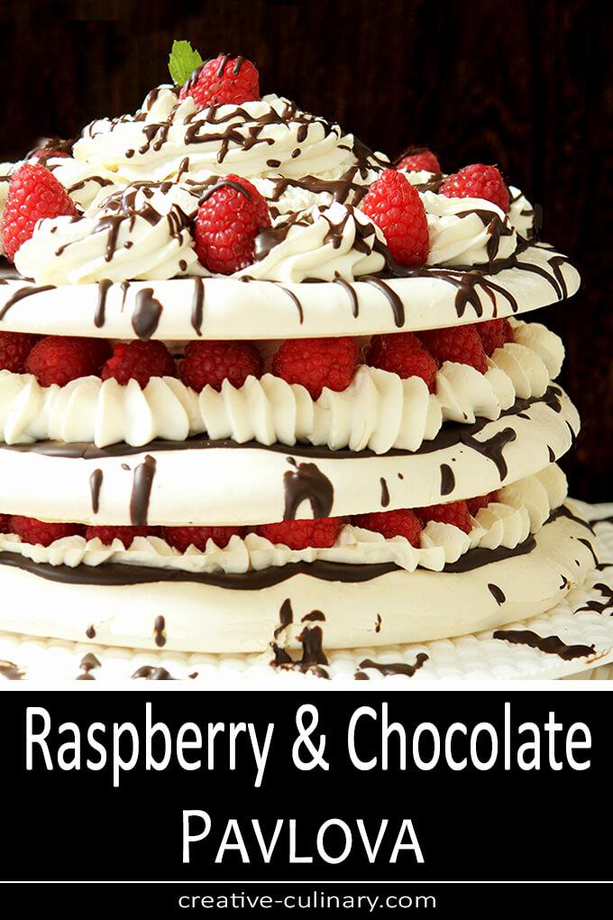 Raspberry and Chocolate Pavlova PIN