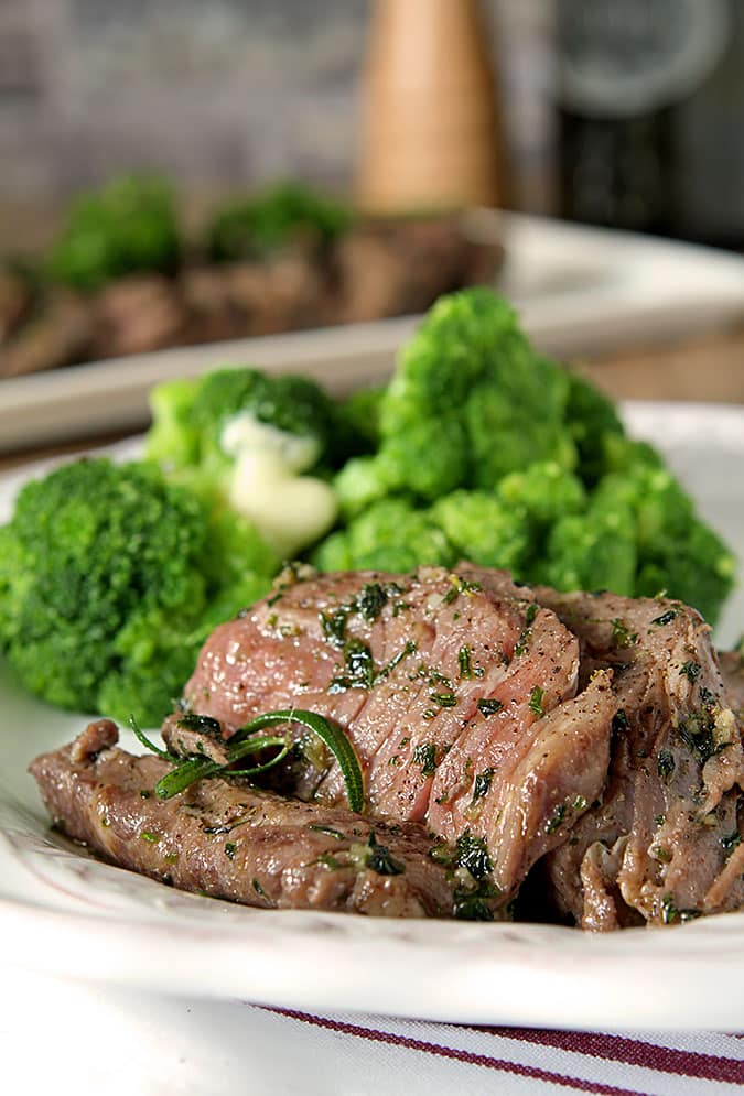 Cut Rib-eye Steak with Olive Oil, Garlic and Herbs (Tagliata)