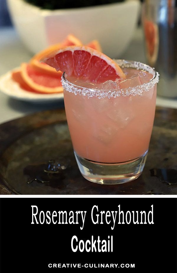 The Rosemary Greyhound is an old fashioned cocktail livened up just a touch with an herb but is still the tart and sleek Greyhound of old. Just three ingredients make for a lovely refreshment that is fantastic all year round.