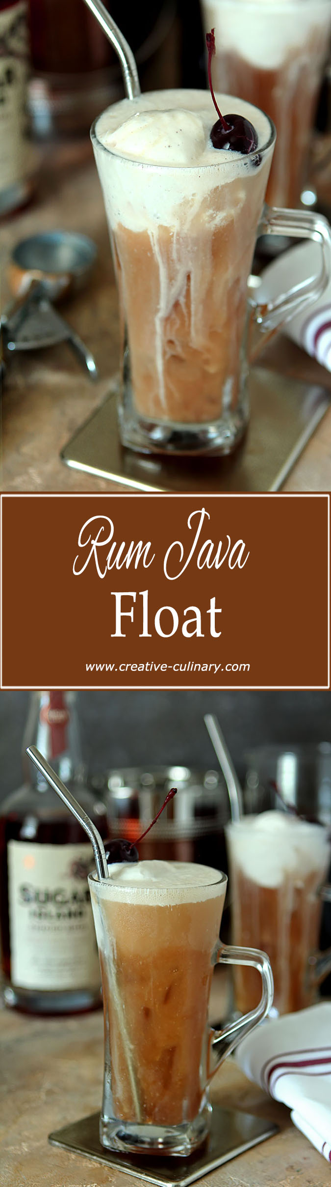 Make a very grownup treat with this Rum Java Float. Coffee, Rum and Orgeat Syrup makes for a delicious adult beverage!