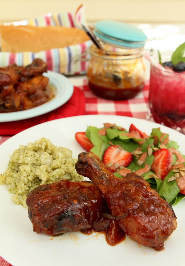 Smoked Chicken with Peach Bourbon Barbecue Sauce