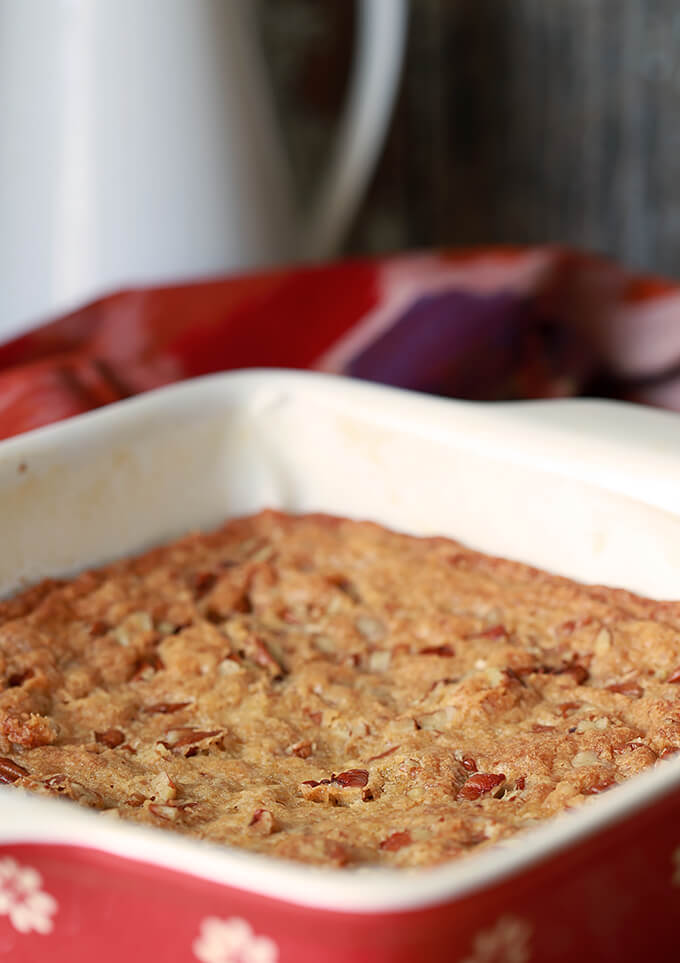 Southern Pecan Bread made in a red glass baking dish.