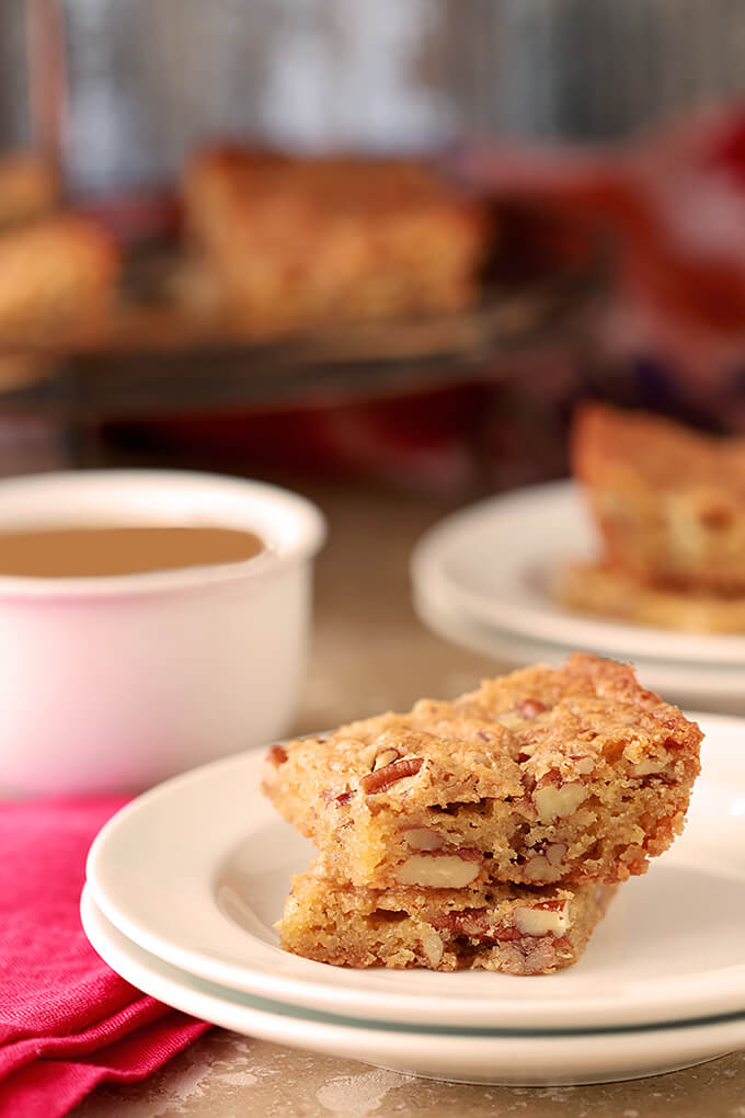 Southern Pecan Bread Served on a Plate with a Cup of Coffee