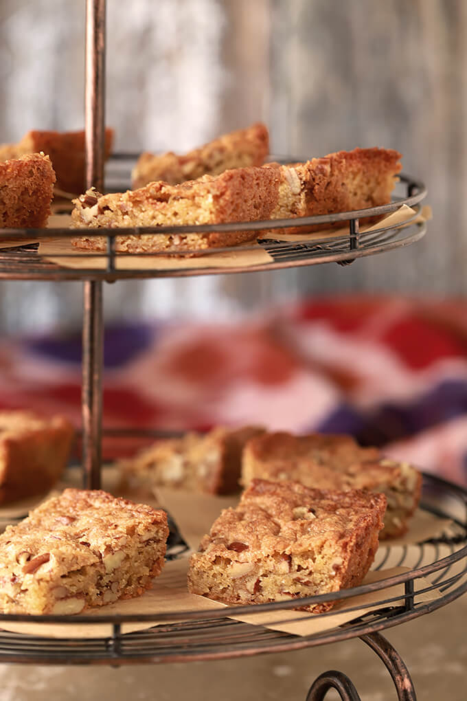 Southern Pecan Bread on a tiered serving dish.