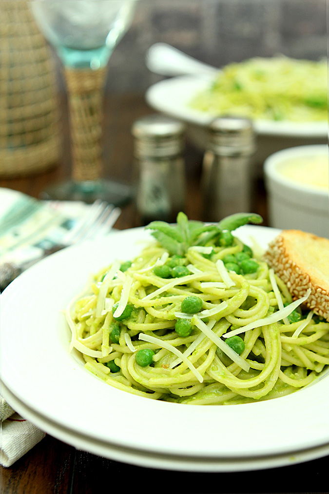 Pea and Pine Nut Pesto on Spaghetti