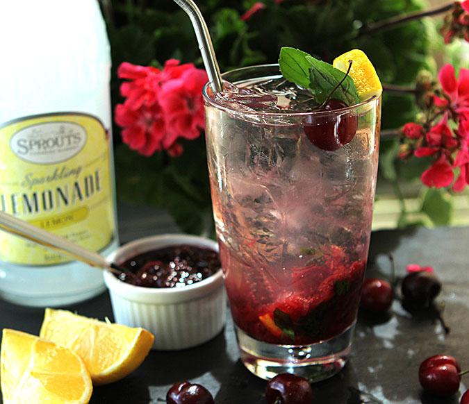 Cherry Mint Vodka Spritzer Served Al Fresco