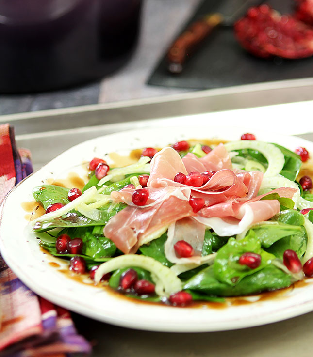 Spinach, Pomegranate and Proscuitto Salad - Creative-Culinary.com