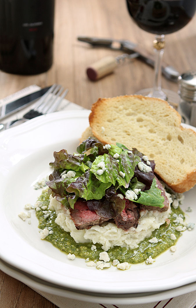 Flank Steak Salad with Mashed Potatoes with Mashed Potatoes, Pesto and Gorgonzola Cheese