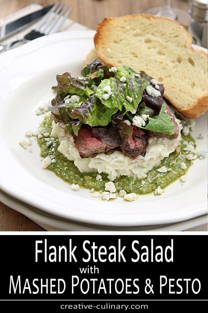 Flank Steak Salad with Mashed Potatoes, Pesto and Gorgonzola Cheese