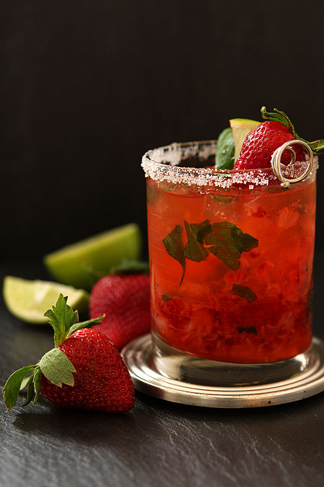 Strawberry Basil Margarita Cocktail