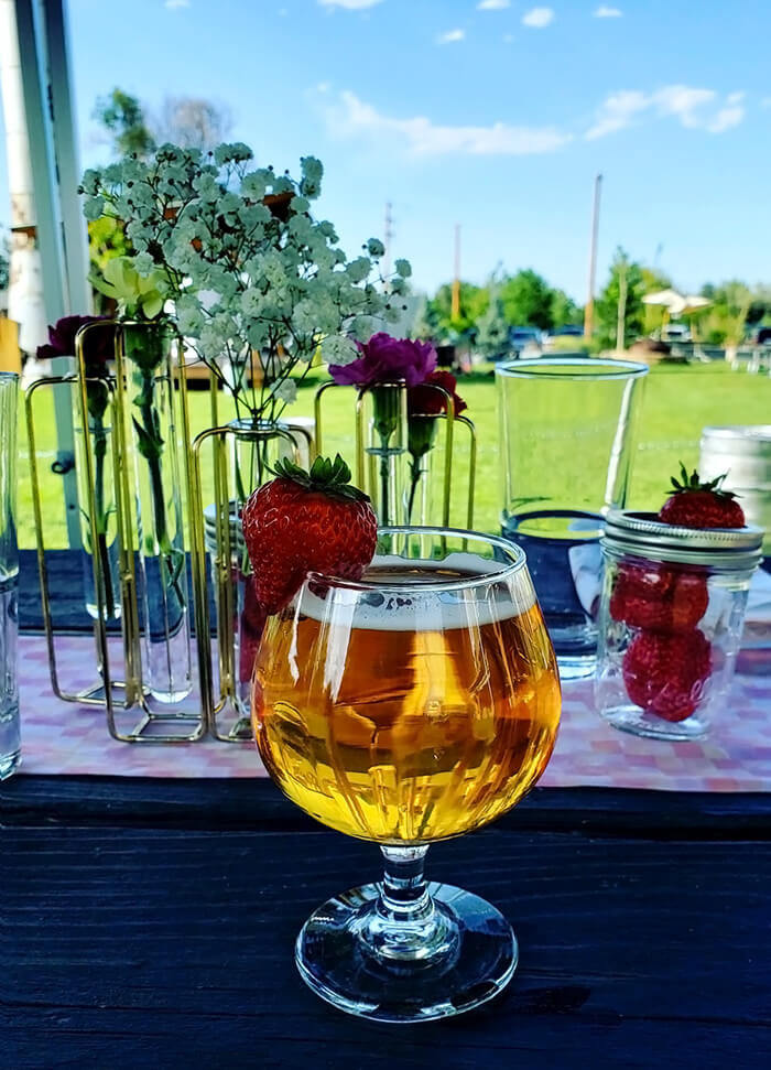 Strawberry Sky Beef from Breckenridge Brewery Served in a Wine Glass