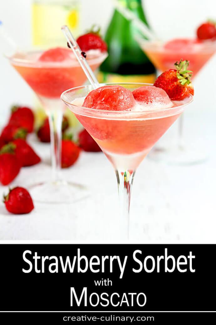 Strawberry Sorbet Prosecco Cocktail Served in a Martini Glass
