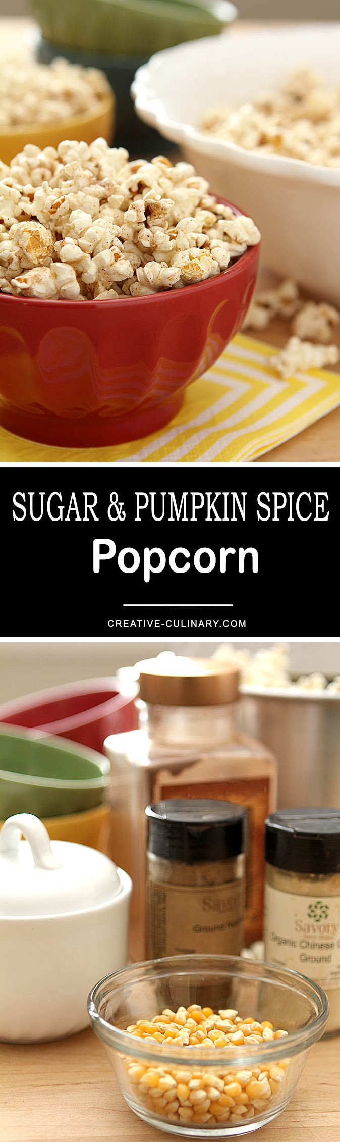 This recipe for Sugar and Pumpkin Spice Popcorn is so easy; no messy coatings or oven baking required. Simply combine butter, sugar, cinnamon, nutmeg and ground ginger and add to your popcorn. DELICIOUS!