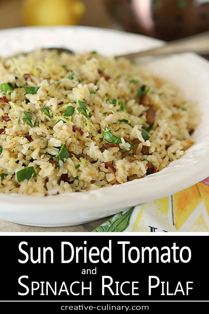 Sun-Dried Tomato and Spinach Rice Pilaf in a White Serving Bowl