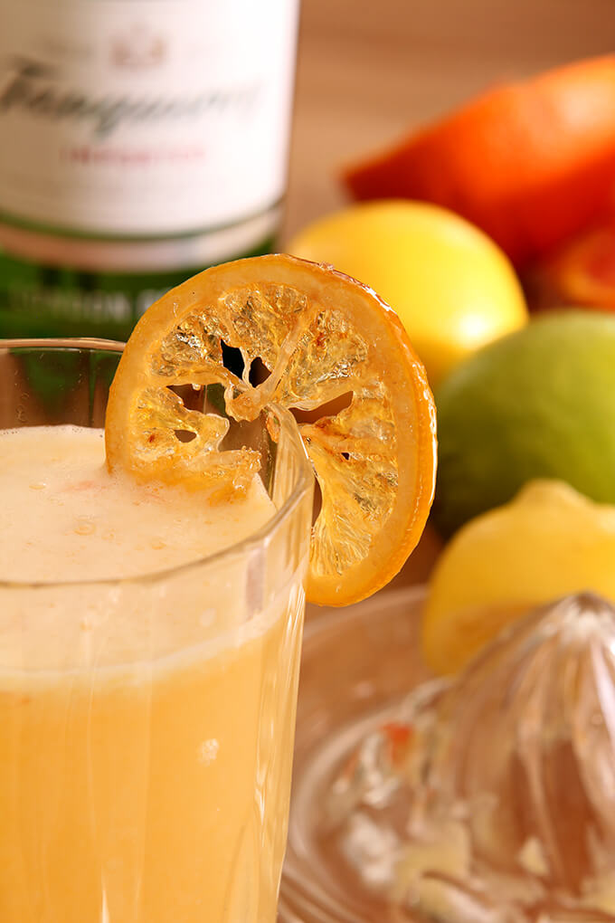 Sweet Citrus Fizz Cocktail Closup in a Glass
