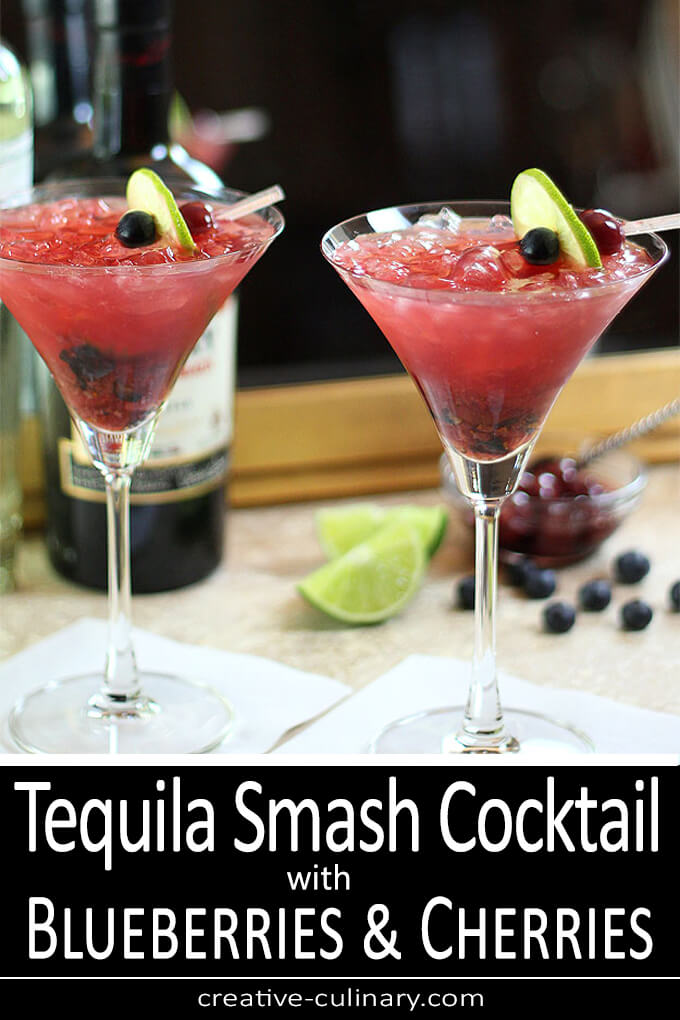 Tequila Smash Cocktail with Blueberries and Cherries PIN