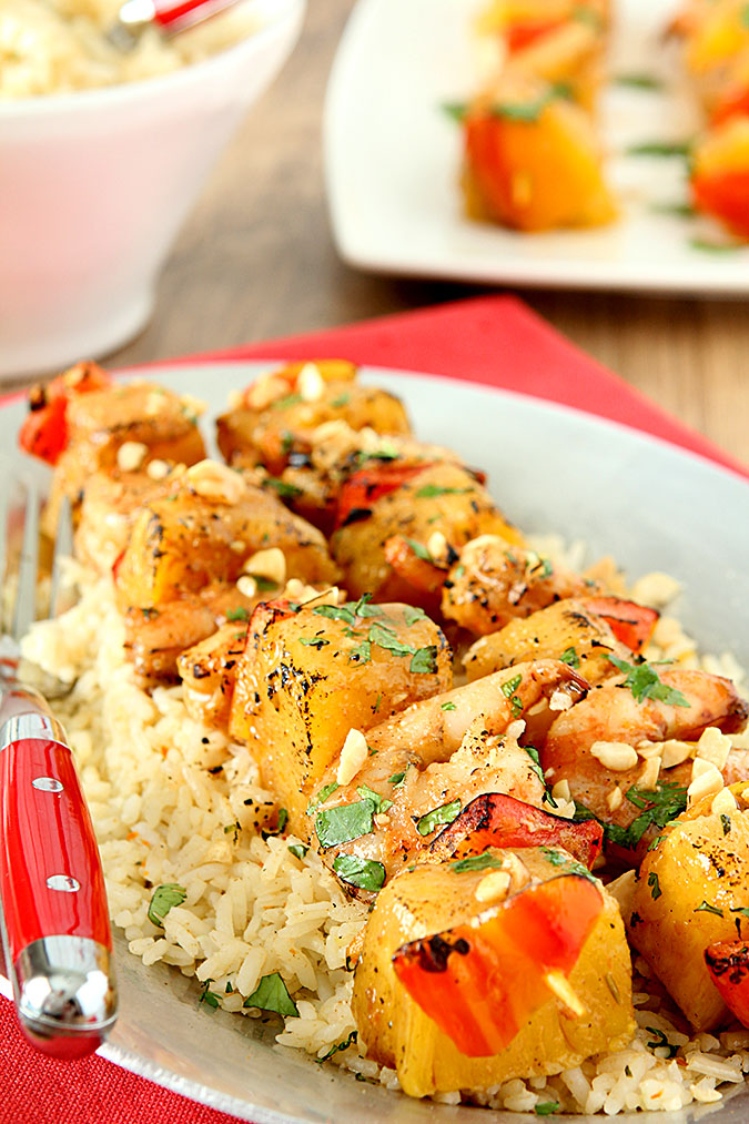Thai Peanut Shrimp Skewers with Pineapple and Red Peppers