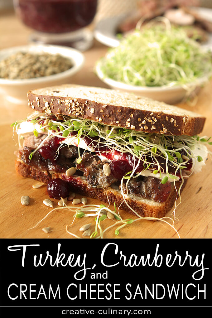 Turkey, Cranberry and Cream Cheese Sandwich with Sprouts and Sunflower Seeds PIN