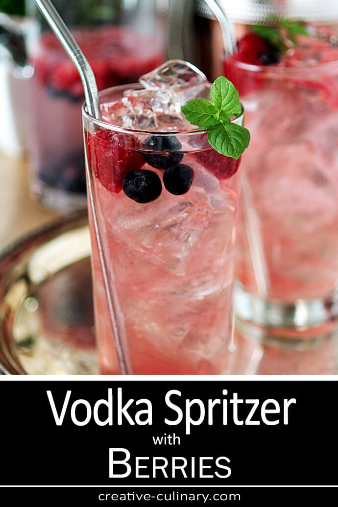 Vodka Spritzer with Raspberries and Blueberries Served in a Collins Glass with Mint Garnish