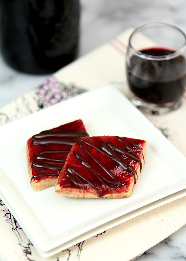 Walnut Shortbread Cookies with Raspberry Jam and Chocolate Drizzle
