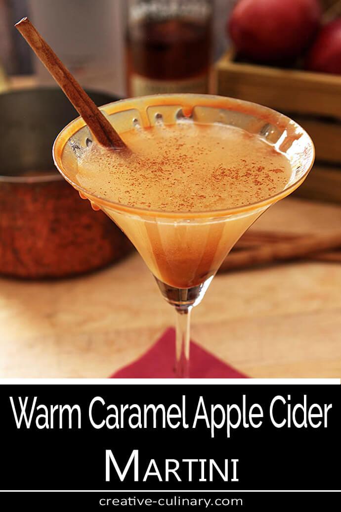 Warm Caramel Apple Cider Martini Served with a Cinnamon Stick in a Martini Glass