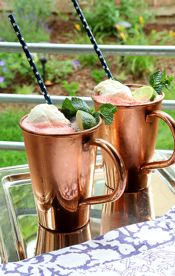 Two Watermelon Moscow Mule Floats in Copper Cups