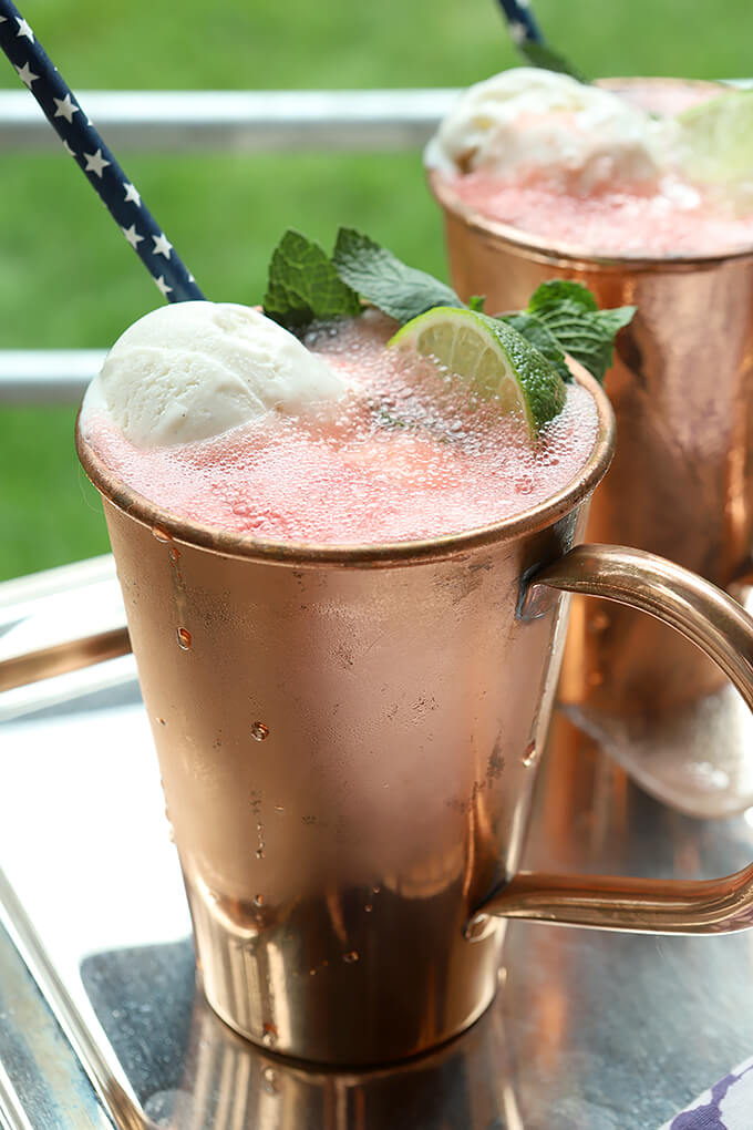 Watermelon Moscow Mule Float in Copper Cup with Lime and Mint Garnish