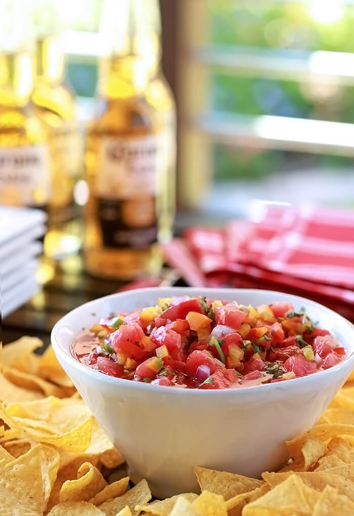 Watermelon Salsa is fresh, with a hint of sweet and heat and so beautiful served in a white bowl.