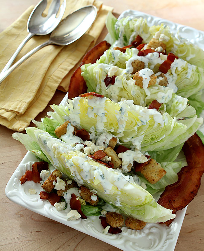 Iceberg Wedge Salad with Buttermilk Dressing, Homemade Croutons and Bacon