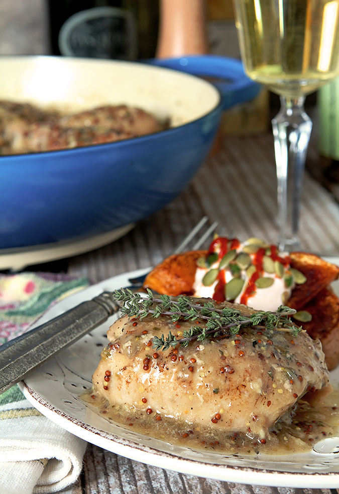 White Wine Braised Chicken with Mustard and Thyme