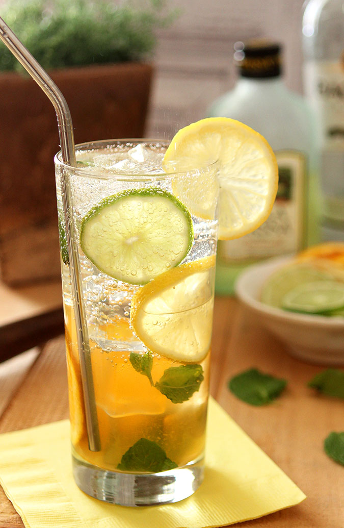Mixed Citrus Mojito with Limoncello with Mint, Lemon, Lime, and Orange