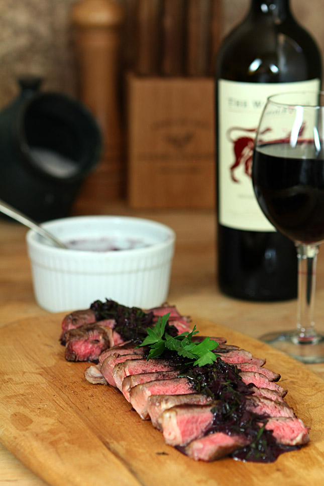 Steak with Red Wine-Herb Sauce