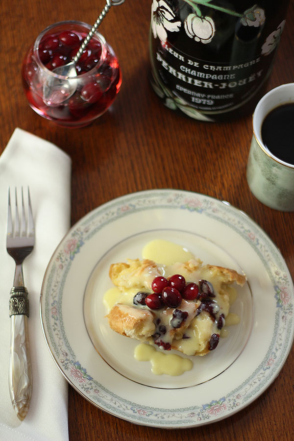 Cranberry and Croissant Bread Pudding with Champagne Zabaglione Sauce ...